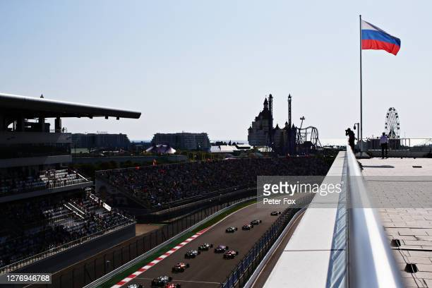 General view as Lewis Hamilton of Great Britain driving the Mercedes AMG Petronas F1 Team Mercedes W11 leads the field at the start during the F1...