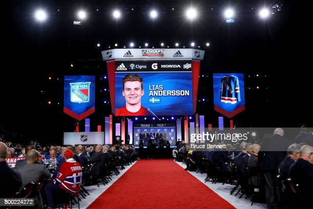 A general view as Lias Andersson is selected seventh overall by the New York Rangers during the 2017 NHL Draft at the United Center on June 23 2017...