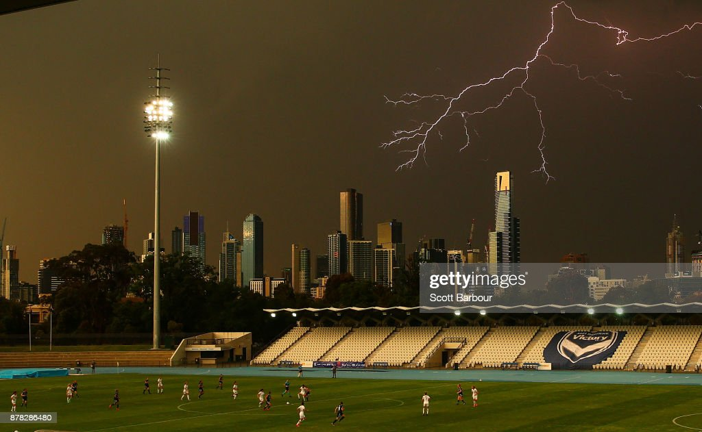A general view as lightning strikes near buildings in the city of Melbourne during the round eight W-League match between the Melbourne Victory and Western Sydney Wanderers at Lakeside Stadium on November 24, 2017 in Melbourne, Australia.