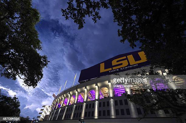 General view as lightning strikes outside of Tiger Stadium during a weather delay between the LSU Tigers and the McNeese State Cowboys on September 5...