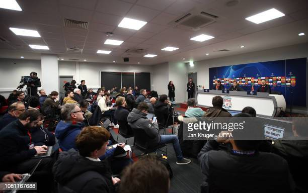 A general view as Liverpool manager Jurgen Klopp addresses the media during the UEFA Champions League Group C match between Liverpool and SSC Napoli...