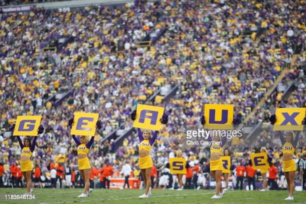 General view as LSU Tigers cheerleaders perform against the Auburn Tigers during the second half at Tiger Stadium on October 26, 2019 in Baton Rouge,...