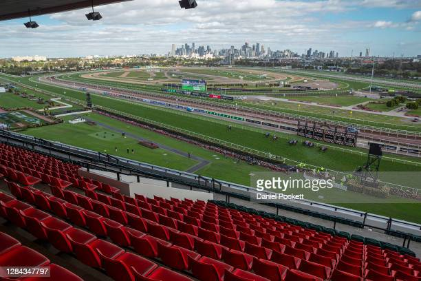 General view as Luke Currie riding Arcadia Queen wins race 8, the Seppelt Mackinnon Stakes during 2020 Seppelt Wines Stakes Day at Flemington...