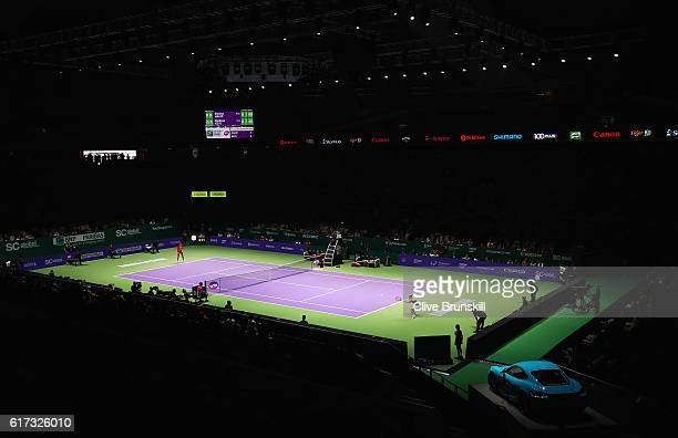A general view as Madison Keys of the United States takes on Simona Halep of Romania in their singles match during day 1 of the BNP Paribas WTA...