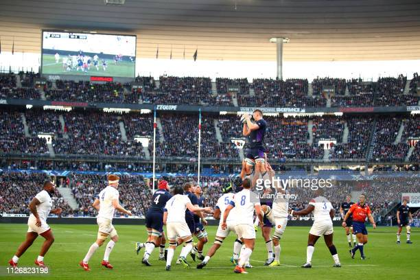 A general view as Magnus Bradbury of Scotland wins the lineout during the Guinness Six Nations match between France and Scotland at Stade de France...