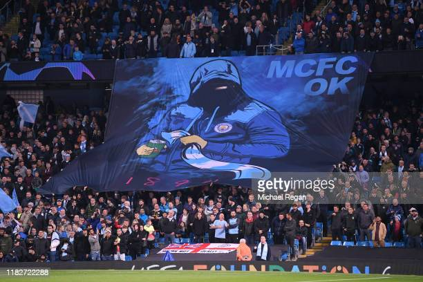 General view as Manchester City fans display a banner prior to the UEFA Champions League group C match between Manchester City and Atalanta at Etihad...