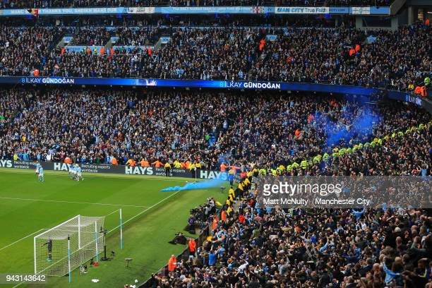A general view as Manchester City players and fans celebrate after the second goal scored by Ilkay Gundogan during the Premier League match between...