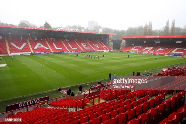 A general view as Manchester City players warm up during the training session at The Valley home of Charlton Athletic on April 07 2019 in London...