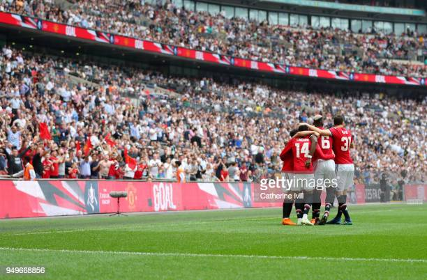 General view as Manchester United celebrate after Alexis Sanchez scores his sides first goal during The Emirates FA Cup Semi Final between Manchester...