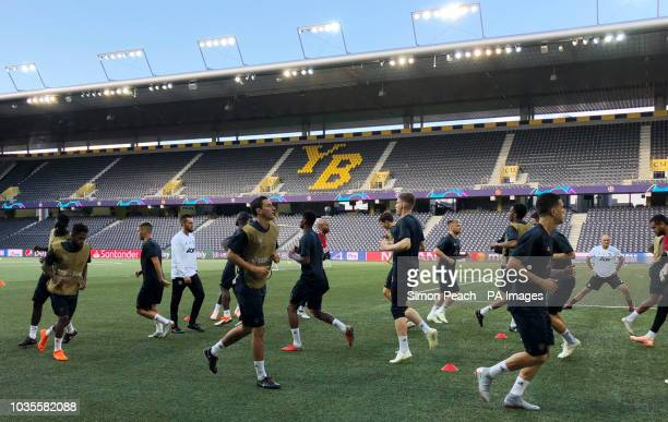 General view as Manchester United players train on the plastic pitch at the Stade de Suisse Bern