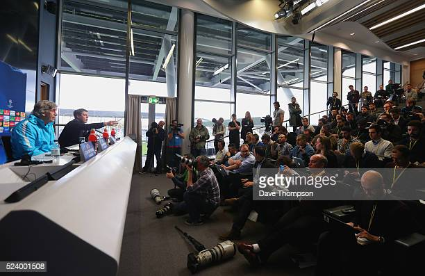A general view as Manuel Pellegrini faces the media during a Manchester City press conference on the eve of their UEFA Champions League semi final...