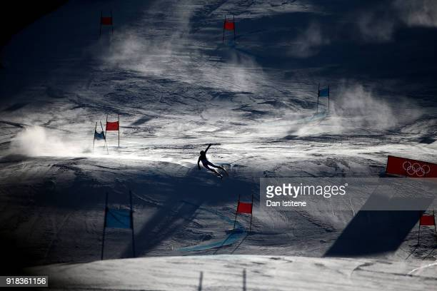 A general view as Manuela Moelgg of Italy competes during the Ladies' Giant Slalom on day six of the PyeongChang 2018 Winter Olympic Games at...