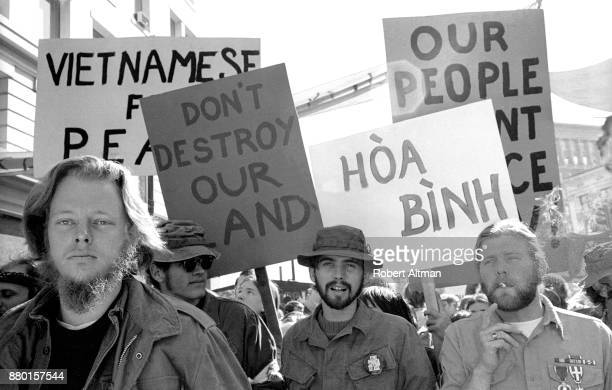 General view as Marines protest and march for Peace during an Anti Vietman War March on April 24 1971 in San Francisco California