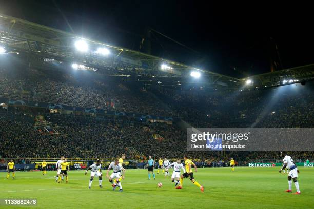 A general view as Mario Gotze of Borussia Dortmund takes on Harry Winks of Tottenham Hotspur during the UEFA Champions League Round of 16 Second Leg...