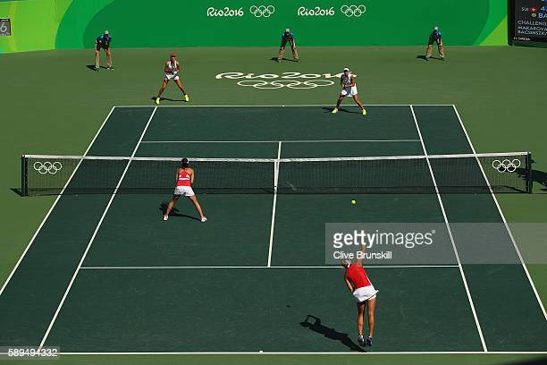 A general view as Martina Hingis and Timea Bacsinszky of Switzerland compete against Elena Vesnina and Ekaterina Makarova of Russia during the...