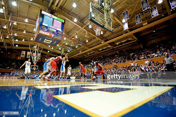 A general view as Mason Plumlee of the Duke Blue Devils shoots a free throw against the WinstonSalem State Rams at Cameron Indoor Stadium on November...