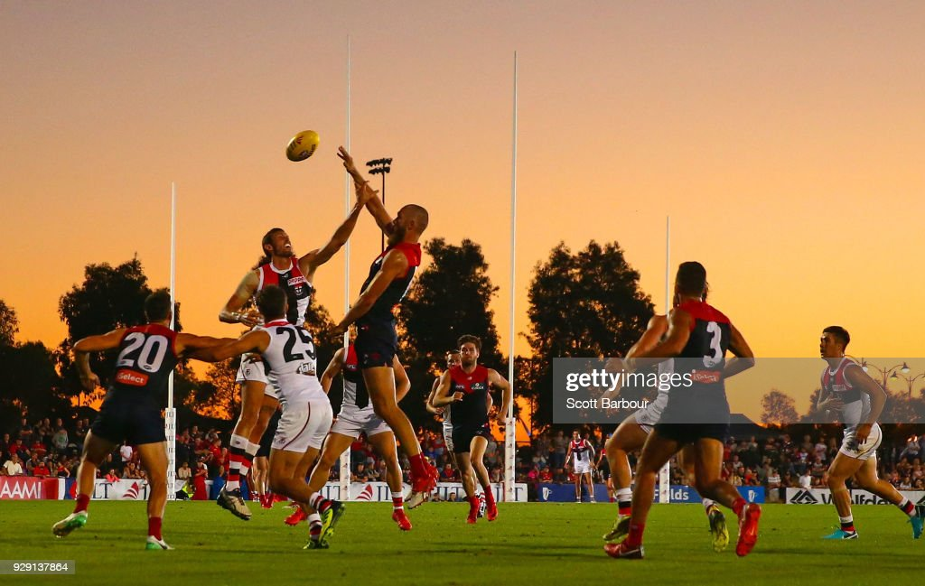 A general view as Max Gawn of the Demons competes for the ball during the JLT Community Series AFL match between the Melbourne Demons and the St Kilda Saints at Casey Fields on March 8, 2018 in Melbourne, Australia.