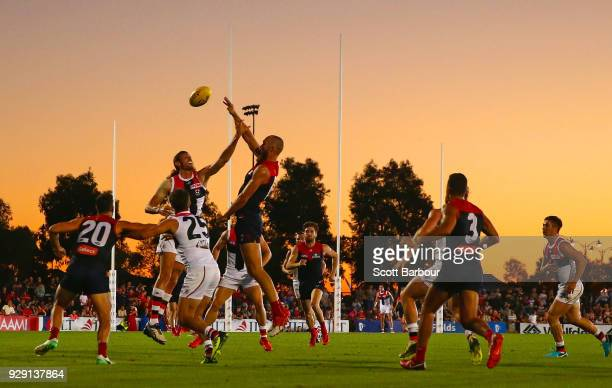 A general view as Max Gawn of the Demons competes for the ball during the JLT Community Series AFL match between the Melbourne Demons and the St...