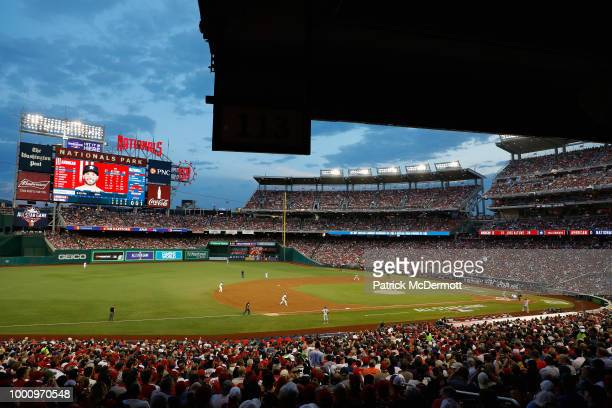 A general view as Max Scherzer of the Washington Nationals and the National League pitches to Jose Altuve of the Houston Astros and the American...