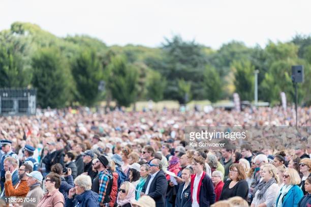 General view as members of the public look on during the National Remembrance Service on March 29 2019 in Christchurch New Zealand 50 people were...