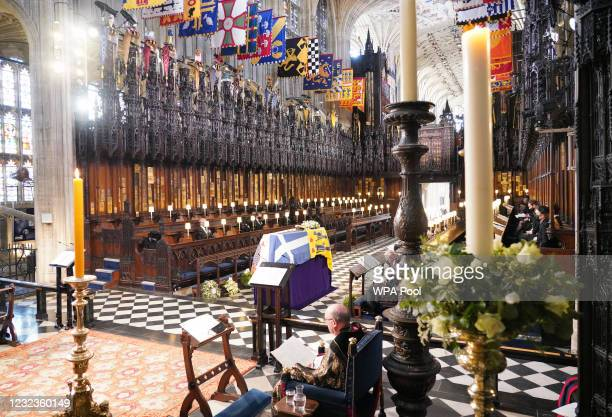 General view as members of the Royal family attend the funeral of Prince Philip, Duke of Edinburgh, at St George's Chapel at Windsor Castle on April...