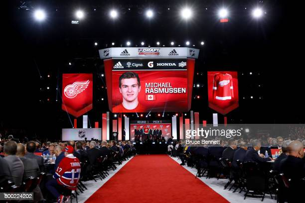 A general view as Michael Rasmussen is selected ninth overall by the Detroit Red Wings during the 2017 NHL Draft at the United Center on June 23 2017...