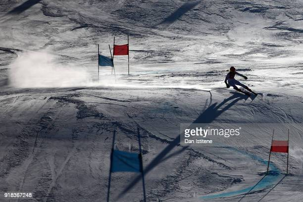 A general view as Mikaela Shiffrin of the United States competes during the Ladies' Giant Slalom on day six of the PyeongChang 2018 Winter Olympic...
