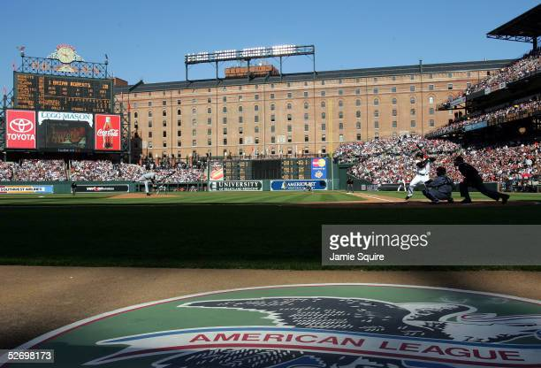 General view as Mike Mussina of the New York Yankees throws a one ball one strike pitch to Brian Roberts of the Baltimore Orioles in the bottom of...