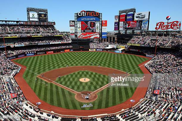 General view as Mike Pelfrey of the New York Mets pitches against the Cincinnati Reds on July 12, 2009 at Citi Field in the Flushing neighborhood of...