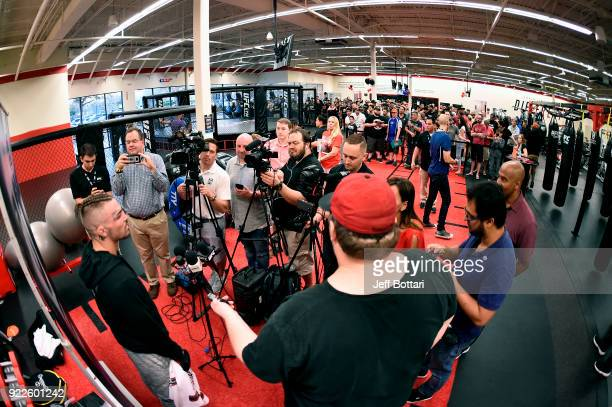 A general view as Mike Perry is interviewed by media at UFC GYM Orlando on February 21 2018 in Orlando Florida
