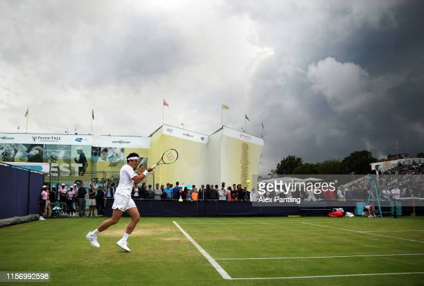 General view as Milos Raonic of Canada plays a forehand during his mens singles first round match against Marco Cecchinato of Italy during day three...