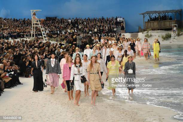 General view as models walk the runway during the Chanel show as part of the Paris Fashion Week Womenswear Spring/Summer 2019 on October 2 2018 in...