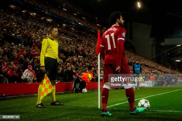 General view as Mohamed Salah of Liverpool takes a corner during the UEFA Champions League Semi Final First Leg match between Liverpool and AS Roma...