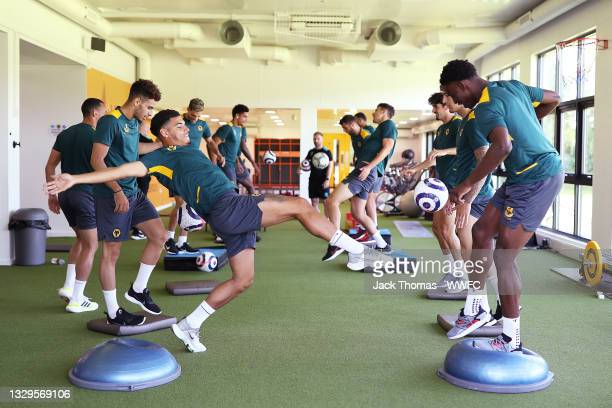 General view as Morgan Gibbs-White and Owen Otasowie of Wolverhampton Wanderers juggle the ball during a Wolverhampton Wanderers Pre-Season Training...