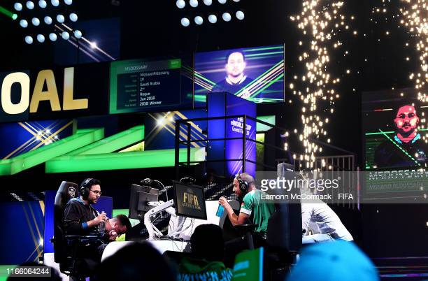 General view as Mosaad Aldossary of Saudi Arabia in action in the FIFA eWorld Cup Final match against Mo Harkous of Germany during Finals day of the...