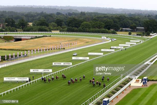 General view as Motakhayyel ridden by Jim Crowley wins the Buckingham Palace Handicap during Day One of Royal Ascot at Ascot Racecourse on June 16,...