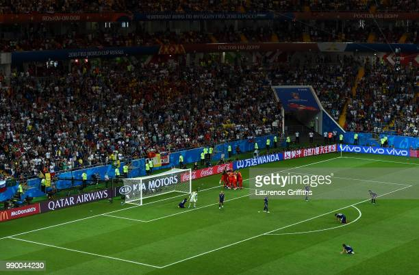 General view as Nacer Chadli of Belgium celebrates after scoring his team's third goal with team mates during the 2018 FIFA World Cup Russia Round of...