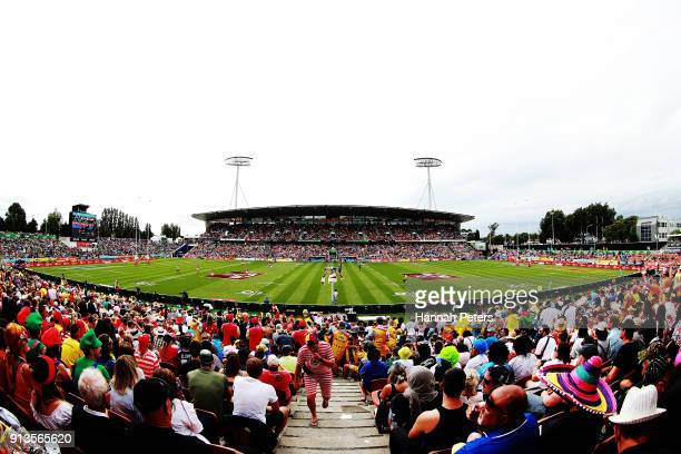 A general view as New Zealand play Scotland during the 2018 New Zealand Sevens at FMG Stadium on February 3 2018 in Hamilton New Zealand