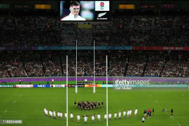 General view as New Zealand players perform the haka prior to the Rugby World Cup 2019 SemiFinal match between England and New Zealand at...