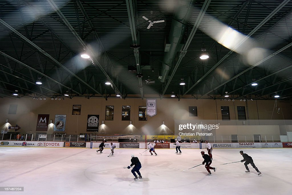 General view as NHL players participate in a workout at the Ice Den on December 3, 2012 in Scottsdale, Arizona. More than a dozen players from around the league that are not able to play during the NHL lockout have been attending workouts at the Phoenix Coyotes practice rink.