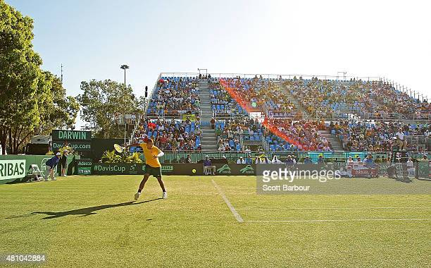 A general view as Nick Kyrgios of Australia plays a forehand against Aleksandr Nedovyesov of Kazakhstan during day one of the Davis Cup World Group...