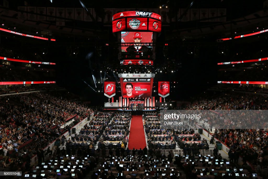 A general view as Nico Hischier after being selected first overall by the New Jersey Devils during the 2017 NHL Draft at the United Center on June 23, 2017 in Chicago, Illinois.
