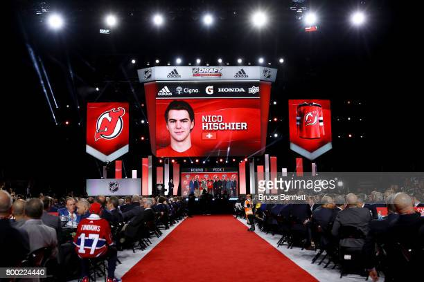 A general view as Nico Hischier is selected first overall by the New Jersey Devils during the 2017 NHL Draft at the United Center on June 23 2017 in...