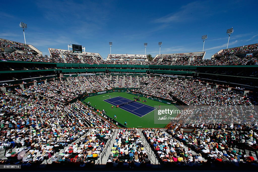 A general view as Novak Djokovic of Serbia in action against Milos Raonic of Canada during day fourteen of the BNP Paribas Open at Indian Wells Tennis Garden on March 20, 2016 in Indian Wells, California.