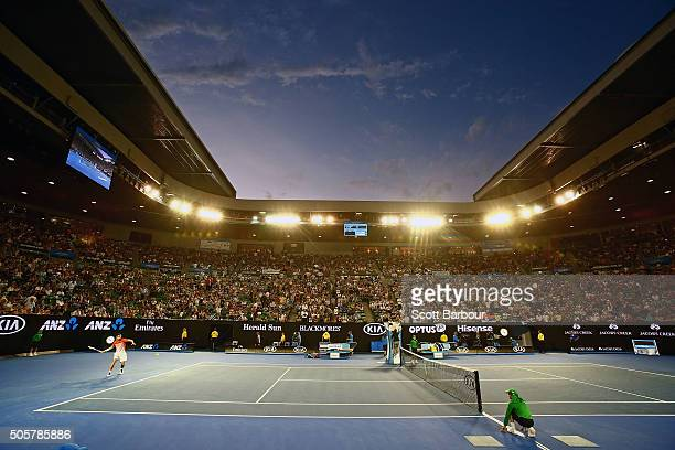 A general view as Novak Djokovic of Serbia plays in his second round match against Quentin Halys of France during day three of the 2016 Australian...