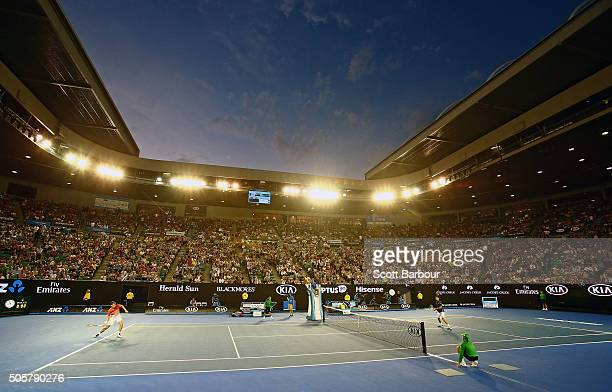 General view as Novak Djokovic of Serbia plays in his second round match against Quentin Halys of France during day three of the 2016 Australian Open...