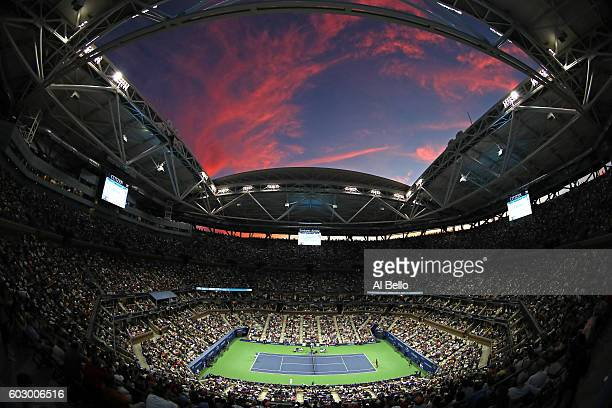 General view as Novak Djokovic of Serbia serves to Stan Wawrinka of Switzerland during their Men's Singles Final Match on Day Fourteen of the 2016 US...