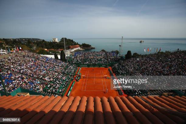 A general view as Novak Djokovic play Dusan Lajovic of Serbia in their singles match during day two of ATP Masters Series Monte Carlo Rolex Masters...