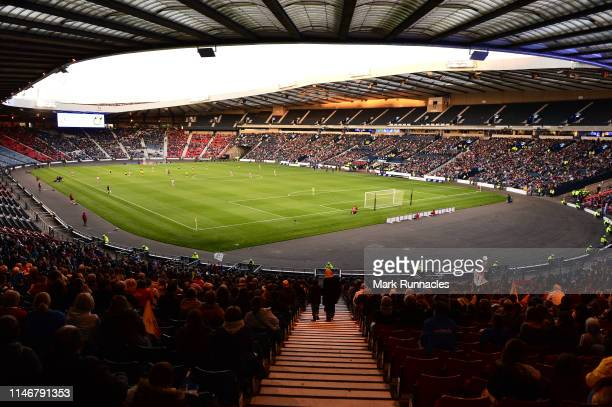 General view as over 18,000 fans inside Hampden Park during the Women's International Friendly between Scotland and Jamaica at Hampden Park on May...