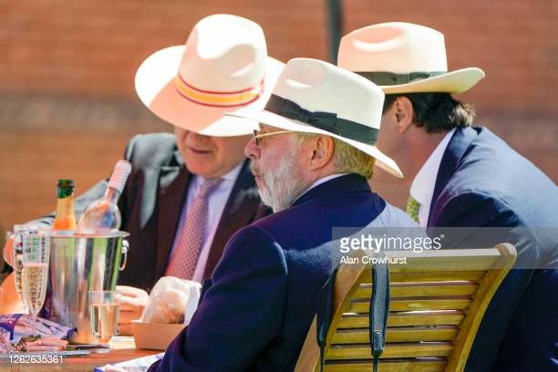 A general view as owners and trainers enjoy a bottle at Goodwood Racecourse on July 30 2020 in Chichester England Owners are allowed to attend if...